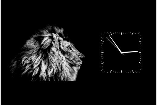 Картина-часы Лев Ч.б