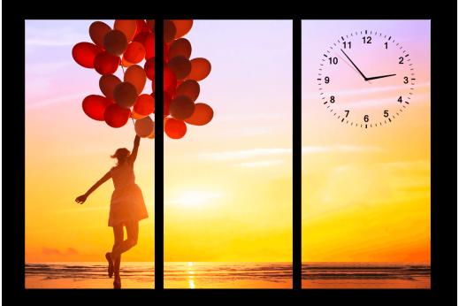 Модульная картина с часами Девушка с шарами